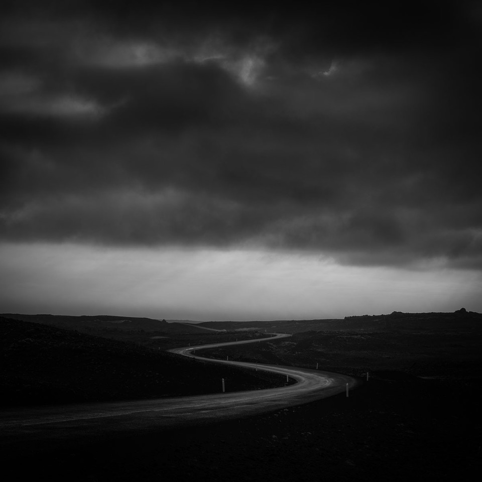 highway, gloomy, sky, monochrome, black and white