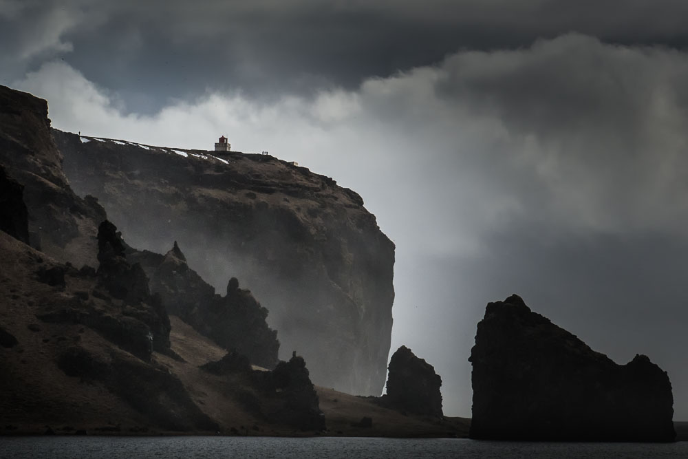 lighthouse, cliff, dreary, gloomey, clouds, rocks