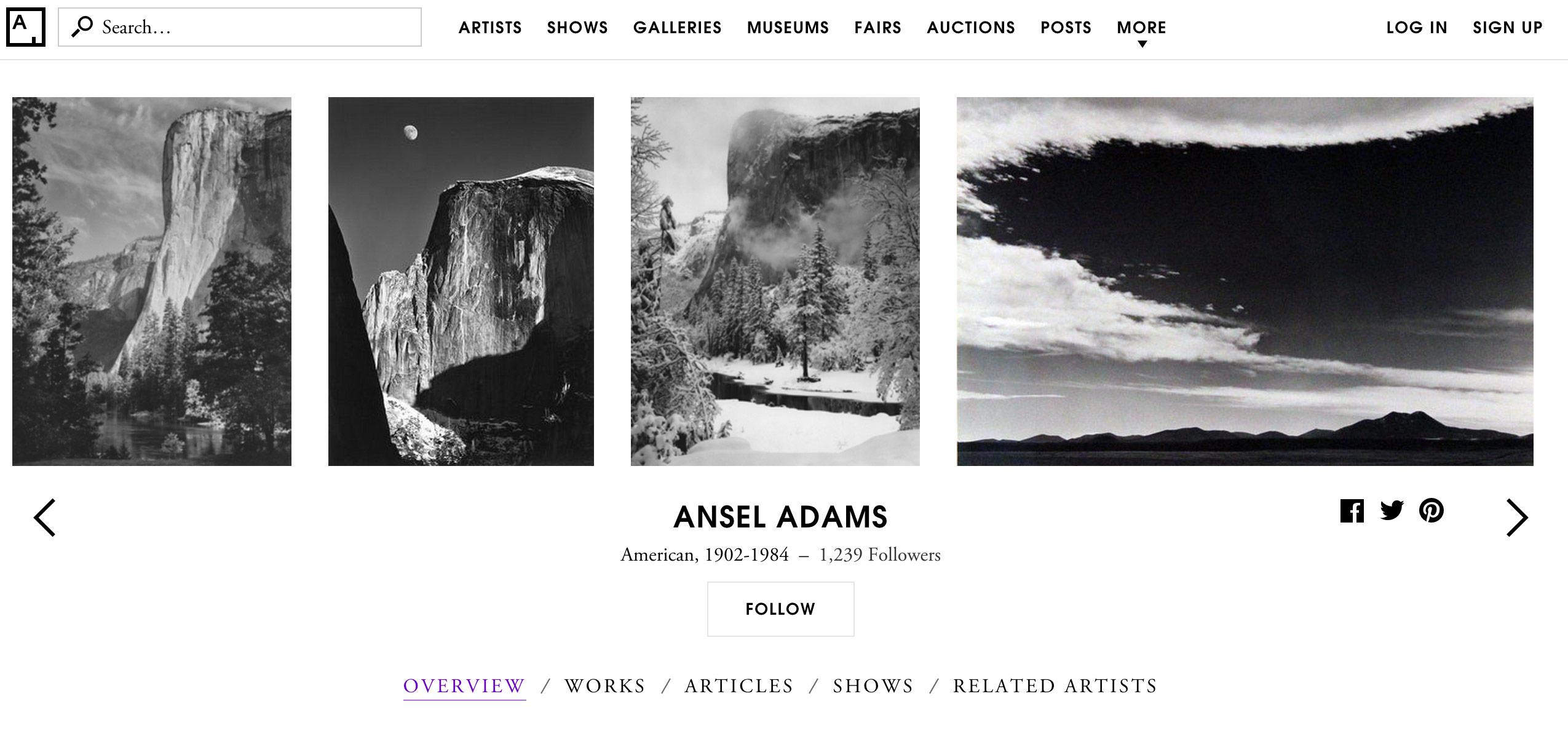 ansel adams artsy.net