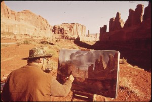 painter, landscape painting, canvas, easel, paint brush, monument valley, oil painting