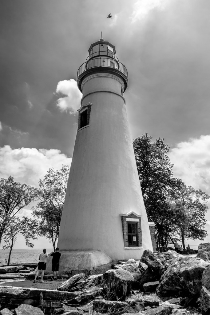 marblehead lighthouse, black and white, ohio, lake erie, great lakes, photographic evolution, monochrome