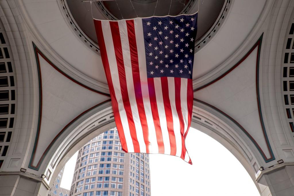 american flag, boston, massachusetts, boston harbor