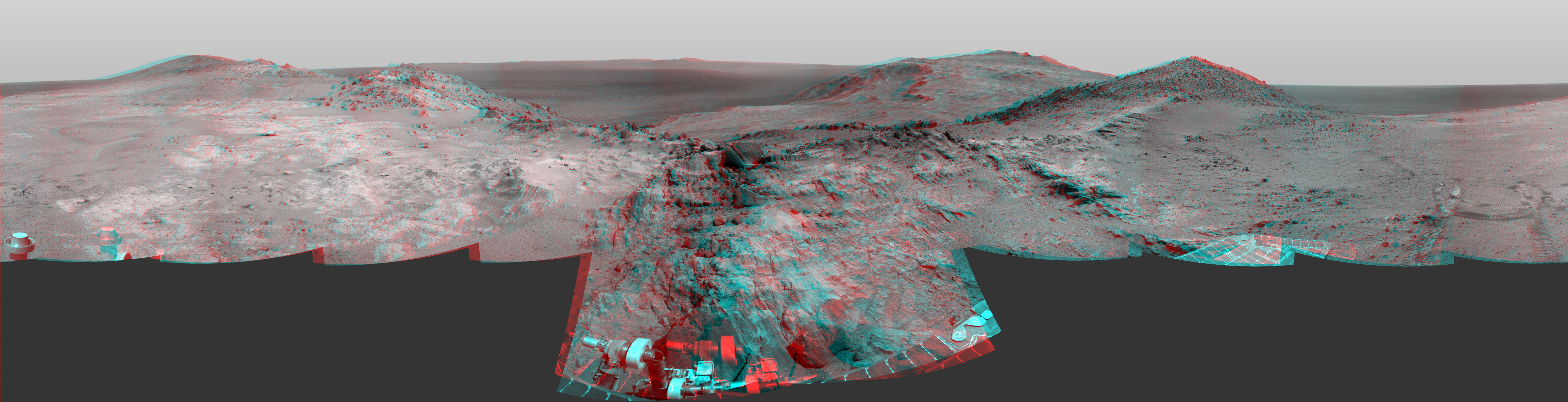 3D image, marathon valley mars, mars rover panoramic image stitched together.