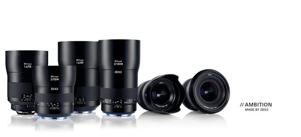 Zeiss Milvus lenses, manual focus lenses, product shot of Zeiss Milvus lenses, canon, nikon, EF lens, F Mount lens