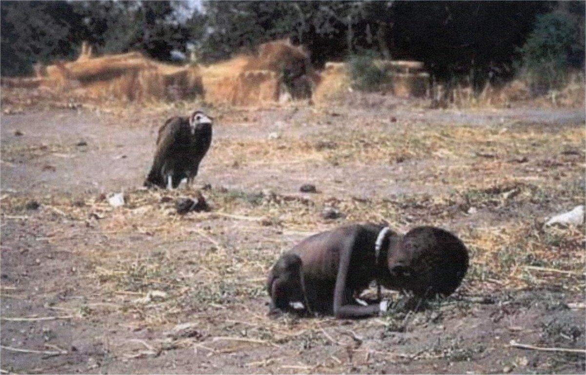 vulture waiting on dying child,  kevin carter, iconic photo, vulture, starving african child