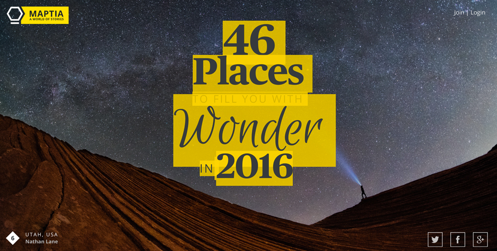 46 Places To Fill You With Wonder in 2016, Maptia, Maptia.com, screenshot of webpage,