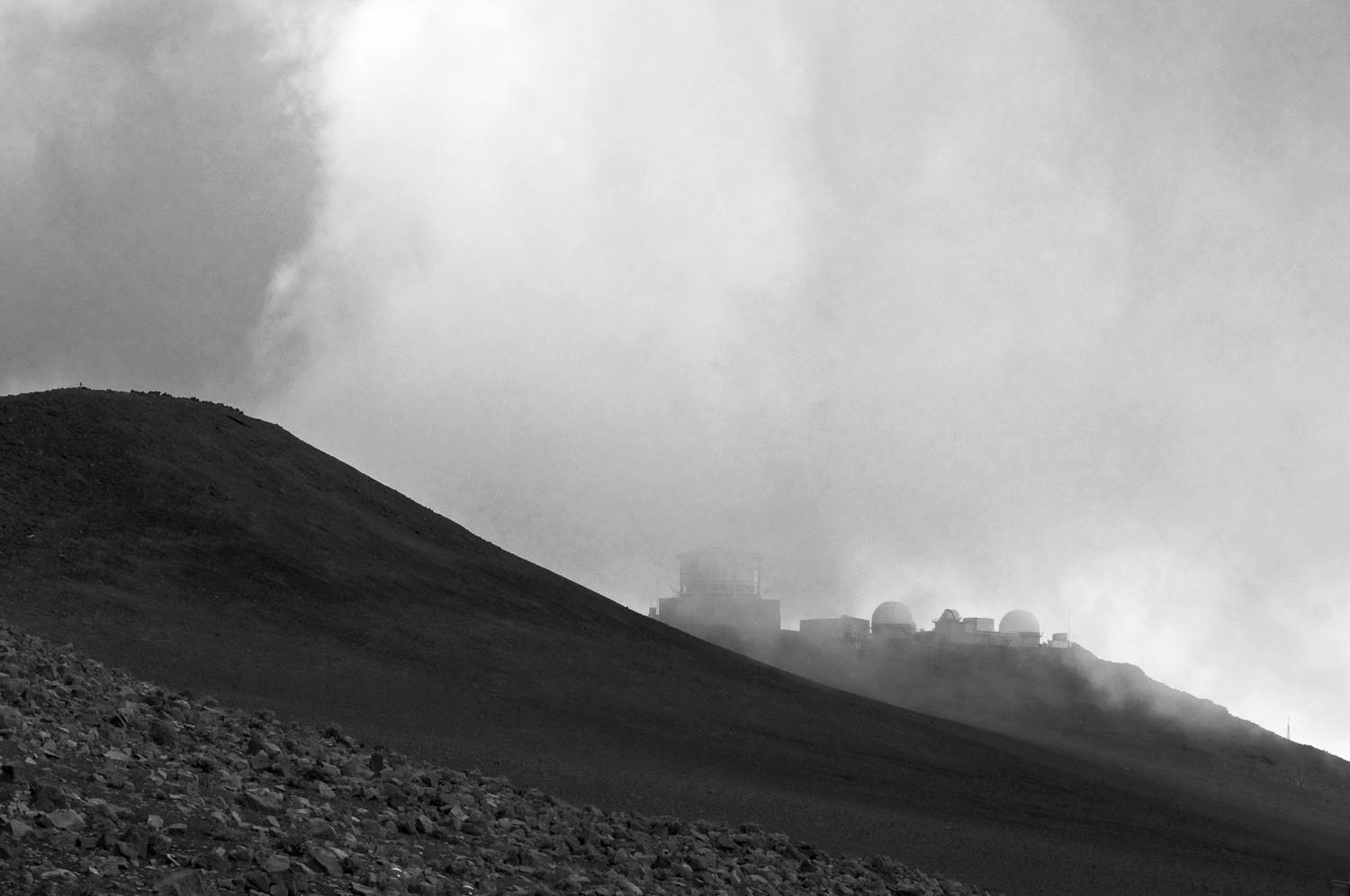 Maui, Haleakala National Park, observatory, Alina Oswald, black and white photography, black and white