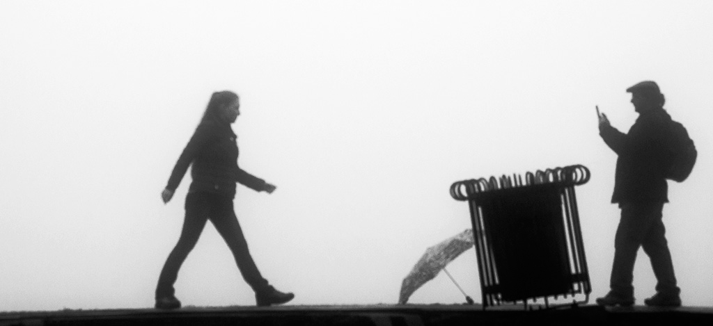 New Orleans, silhouettes, fog, weather, Alina Oswald, black and white photography, black and white