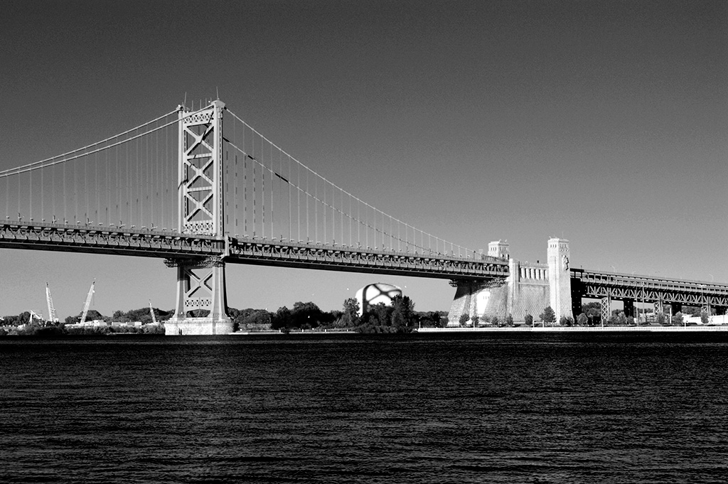 Delaware River as seen from Penn Landing in Philadelphia, PA., Alina Oswald, Daniel Bauer, magician, black and white photography, black and white